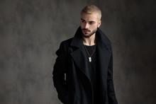 Attractive Fashion Model Wearing Black Longcoat