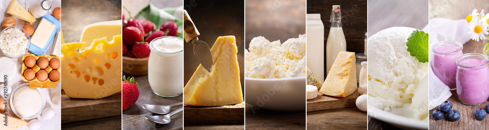 Fototapety, obrazy: collage of various dairy products