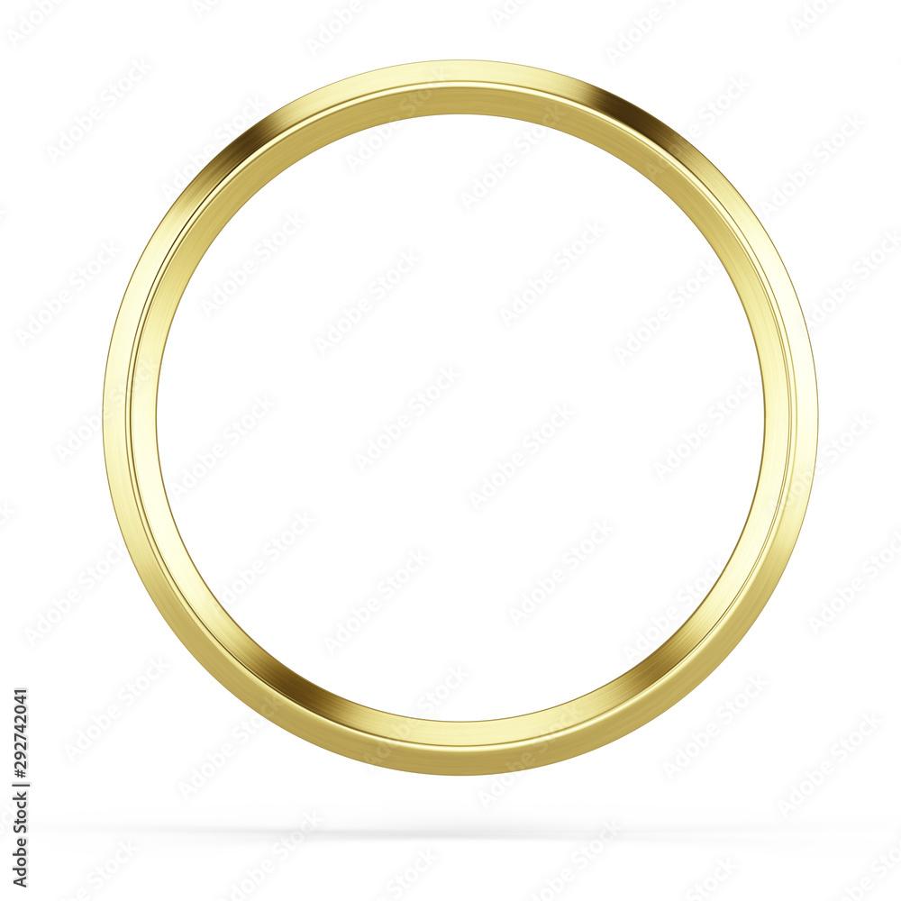 Fototapety, obrazy: Gold ring frame isolated on white background - 3d illustration