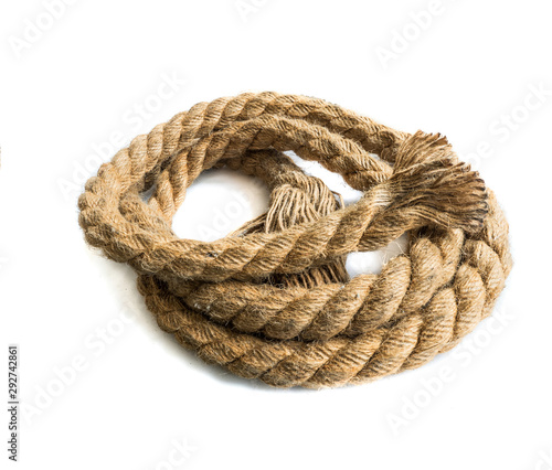 Fotografering big nautical rope isolated on white