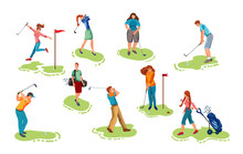Set Of Young People Playing Golf On Grass Vector Illustration