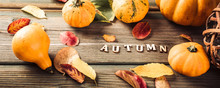 Autumn Pumpkin Thanksgiving Background With Text And Letters, Assorted Pumpkins Over Green Wooden Table. Toned Flat Lay, Banner