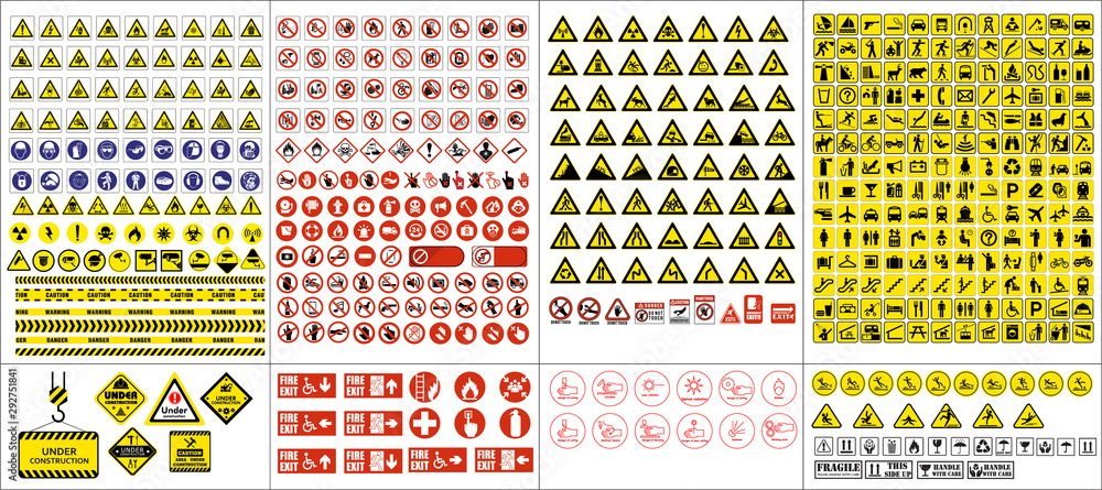 Fototapeta set of mandatory sign, hazard sign, prohibited sign, occupational safety and health signs, warning signboard, fire emergency sign. for sticker, posters, and other material printing. easy to modify.  - obraz na płótnie