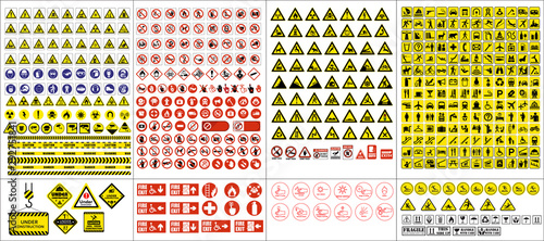 Fotomural  set of mandatory sign, hazard sign, prohibited sign, occupational safety and health signs, warning signboard, fire emergency sign