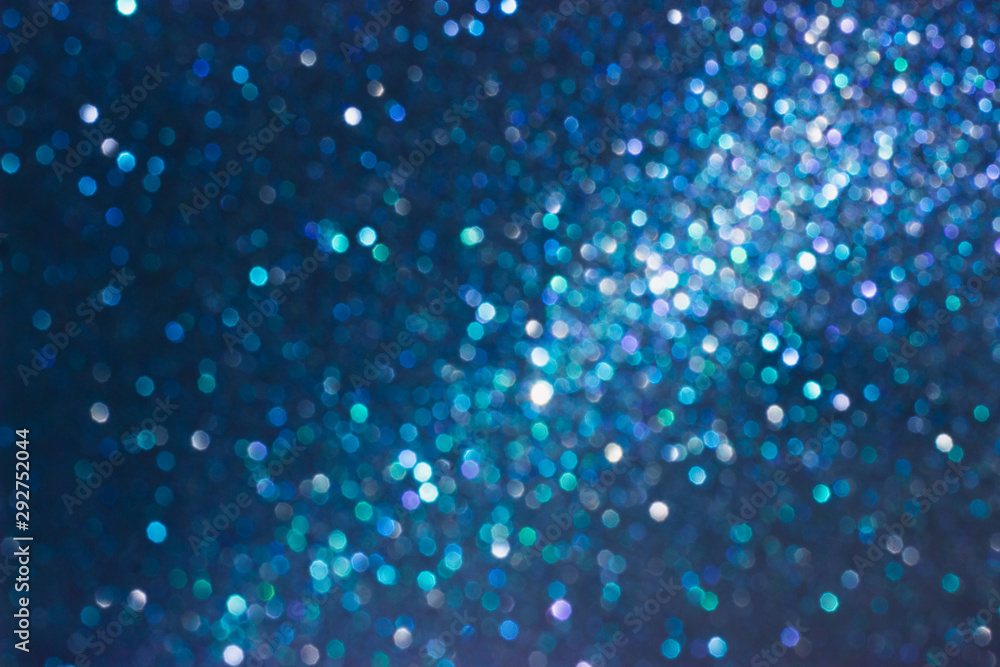 Fototapety, obrazy: Brilliant abstract blurred background. Blue shiny background for your text and design. Can be used for Christmas or New Year theme design. Defocused abstract background. Selective focus.