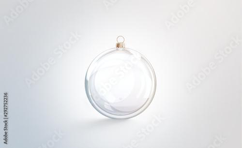 Obraz na plátne Blank glass christmas ball for tree mock up, isolated