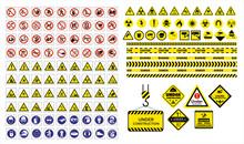 Set Of Mandatory Sign, Hazard ...
