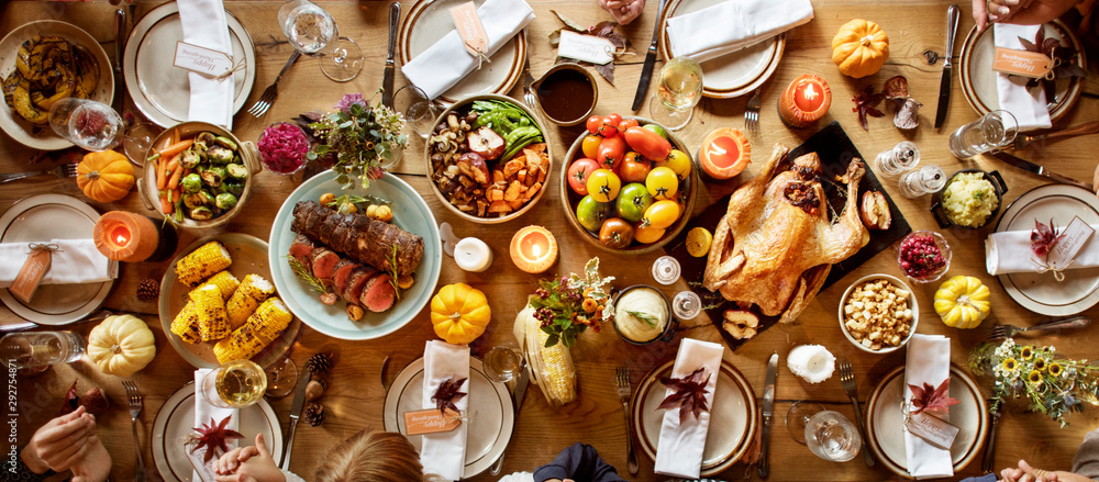 Fototapety, obrazy: Thanksgiving Celebration Traditional Dinner Setting Food Concept