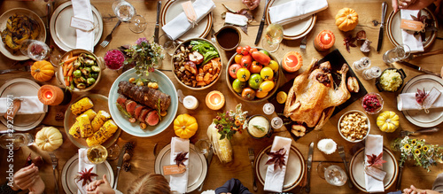 Thanksgiving Celebration Traditional Dinner Setting Food Concept - 292754871