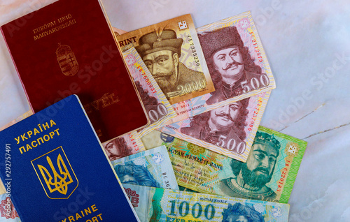 Poster Pays d Asie The Hungarian passports and Ukrainian passport with money banknotes forints