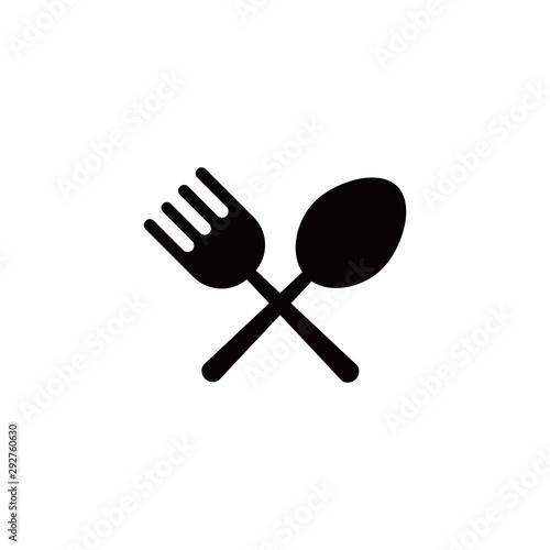 Cutlery set: fork and spoon for food and white background, Vector illustration Tapéta, Fotótapéta