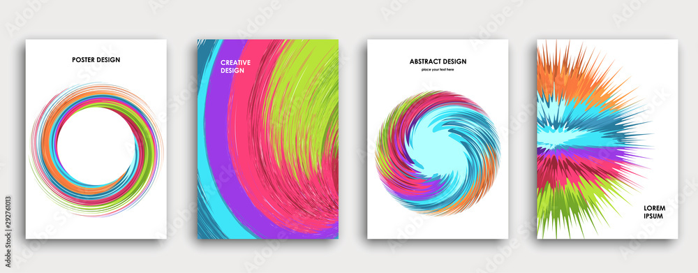 Fototapeta Multi-colored book cover page design, creative abstract background.