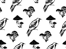 Hand Drawn Antique Magic Seamless Pattern. Vector Sketch Endless Illustration With Raven And Mushrooms. Halloween Party Retro Grunge Style Background Painted By Ink