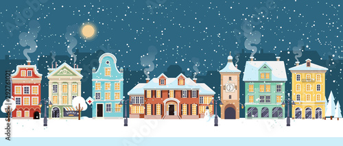 Snowy Christmas night in cozy town city panorama. Winter village holiday landscape, vector illustration