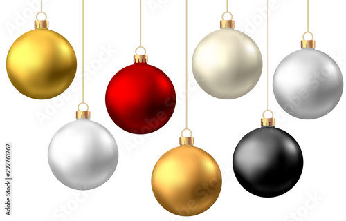 Obraz Realistic  red, black, gold, silver  Christmas  balls  isolated on white background. - fototapety do salonu