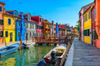 canvas print picture Street with colorful buildings in Burano island, Venice, Italy. Architecture and landmarks of Venice, Venice postcard