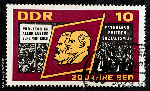 Fotografiet postage stamp, proletarians of all countries unite