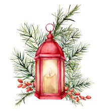 Watercolor Card With Lantern A...