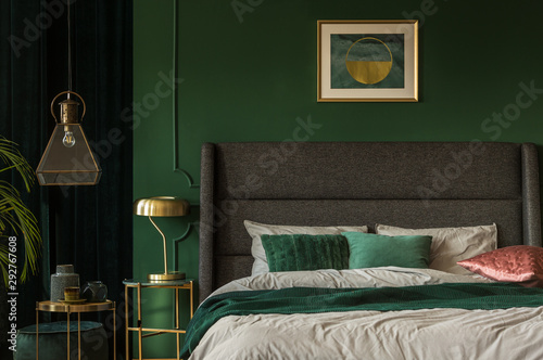 Canvas Prints Wall Decor With Your Own Photos Stylish emerald green and golden poster above comfortable king size bed with headboard and pillows in dark green bedroom