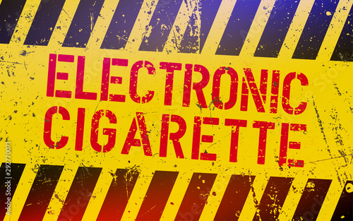Obraz na plátně  Electronic cigarette lettering on danger sign with yellow and black stripes