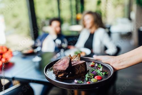 Gourmet grill restaurant steak menu - New York beef steak on wooden background Wallpaper Mural
