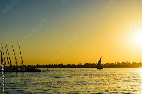 View on a Nile river at sunset. Luxor, Egypt