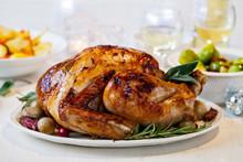 Christmas Dinner With Roast Turkey