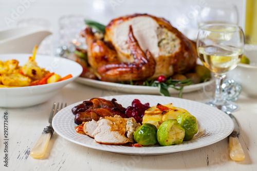 Fototapeta Christmas dinner with roast turkey obraz