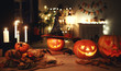 canvas print picture - Dark interior of house decorated for Halloween pumpkins, webs and spiders