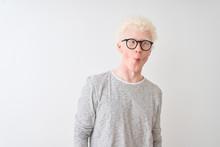 Young Albino Blond Man Wearing...