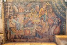 Mosaic Art In The Cardo, Roman Street, Jerusalem, Israel