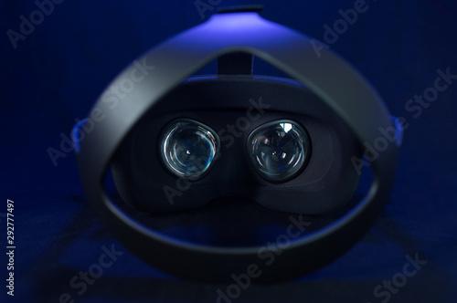 Fotografie, Obraz  Black virtual reality headset with fresnel lenses and headband.