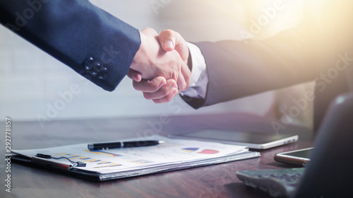 successful negotiate and handshake concept, two businessman shake hand with part Canvas Print