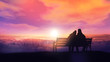 canvas print picture - Couple on a bench looks at a winter sunset.