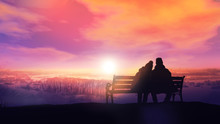 Couple On A Bench Looks At A W...