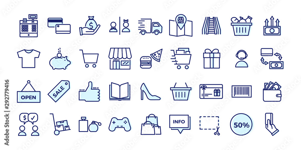 Fototapeta Icons related with commerce, shops, shopping malls, retail. Vector illustration filled outline design set