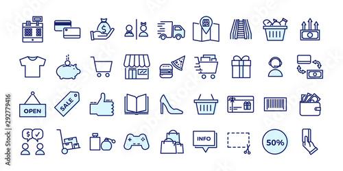 Fototapeta Icons related with commerce, shops, shopping malls, retail. Vector illustration filled outline design set obraz