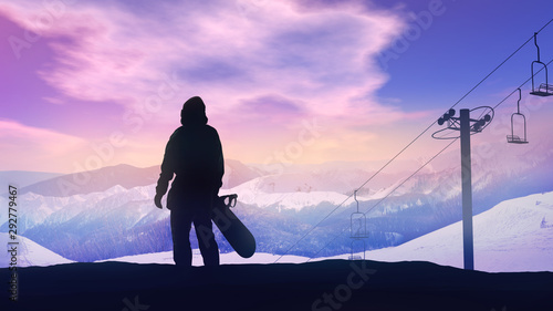Photo sur Aluminium Glisse hiver Snowboarder watching the sunset over the mountains.
