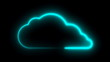 Cloud symbol with neon illumination, lowing neon light tube art design for cloud technology theme, 3d rendering backdrop