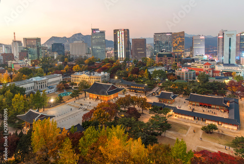 In de dag Verenigde Staten Aerial View Of Deoksugung Palace in Autumn season Seoul,South Korea.