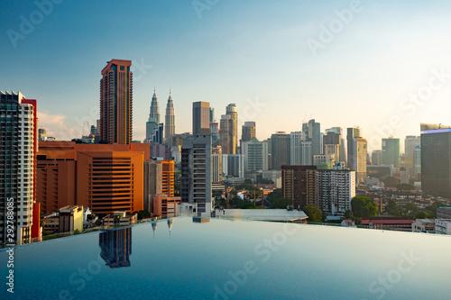 Kuala Lumpur skyline pool view Canvas Print