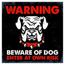 Vintage Textured Beware Of Dog...