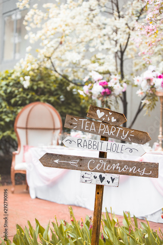 Photo Signpost for wonderland theme wedding