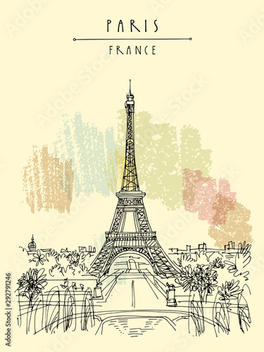 Paris, France, Europe. Eiffel Tower. French famous landmark. Hand drawing. European travel sketch. Vertical vintage hand drawn touristic postcard, poster, brochure illustration. EPS10 vector art Wall mural