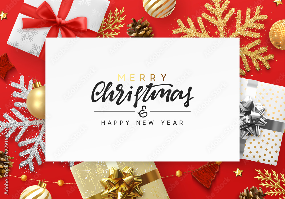 Fototapeta Christmas red background. Xmas festive decoration objects. Realistic elements of design. Merry Christmas and Happy New Year Holiday template. greeting card, poster. flat top view. vector illustration