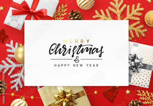 Poster Bol Christmas red background. Xmas festive decoration objects. Realistic elements of design. Merry Christmas and Happy New Year Holiday template. greeting card, poster. flat top view. vector illustration