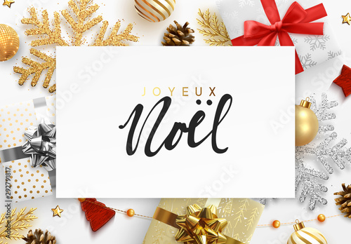Poster Bol French text Joyeux Noel. Christmas background. Xmas festive decoration objects. Realistic elements of design. Merry Christmas and Happy New Year Holiday template. greeting card, web poster.