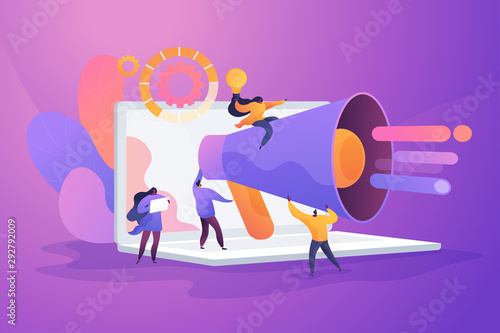 Word of mouth promotion flat vector illustration Wallpaper Mural