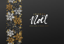 French Text Joyeux Noel. Merry Christmas And Happy New Year. Xmas Background With Shining Gold And Silver Snowflakes. Greeting Card, Holiday Banner, Web Poster
