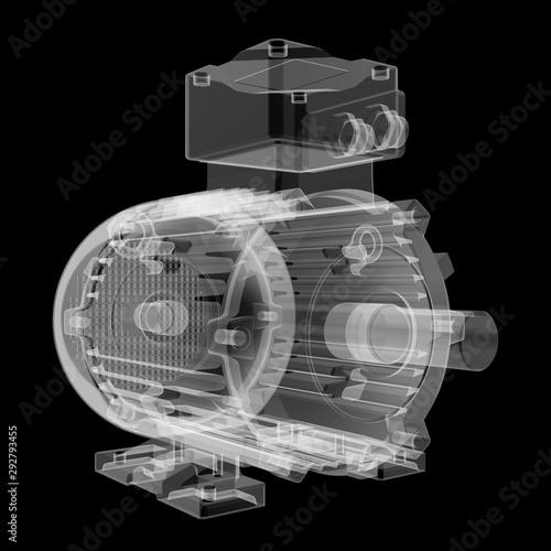 Obraz na plátne Electric motor X-Ray style